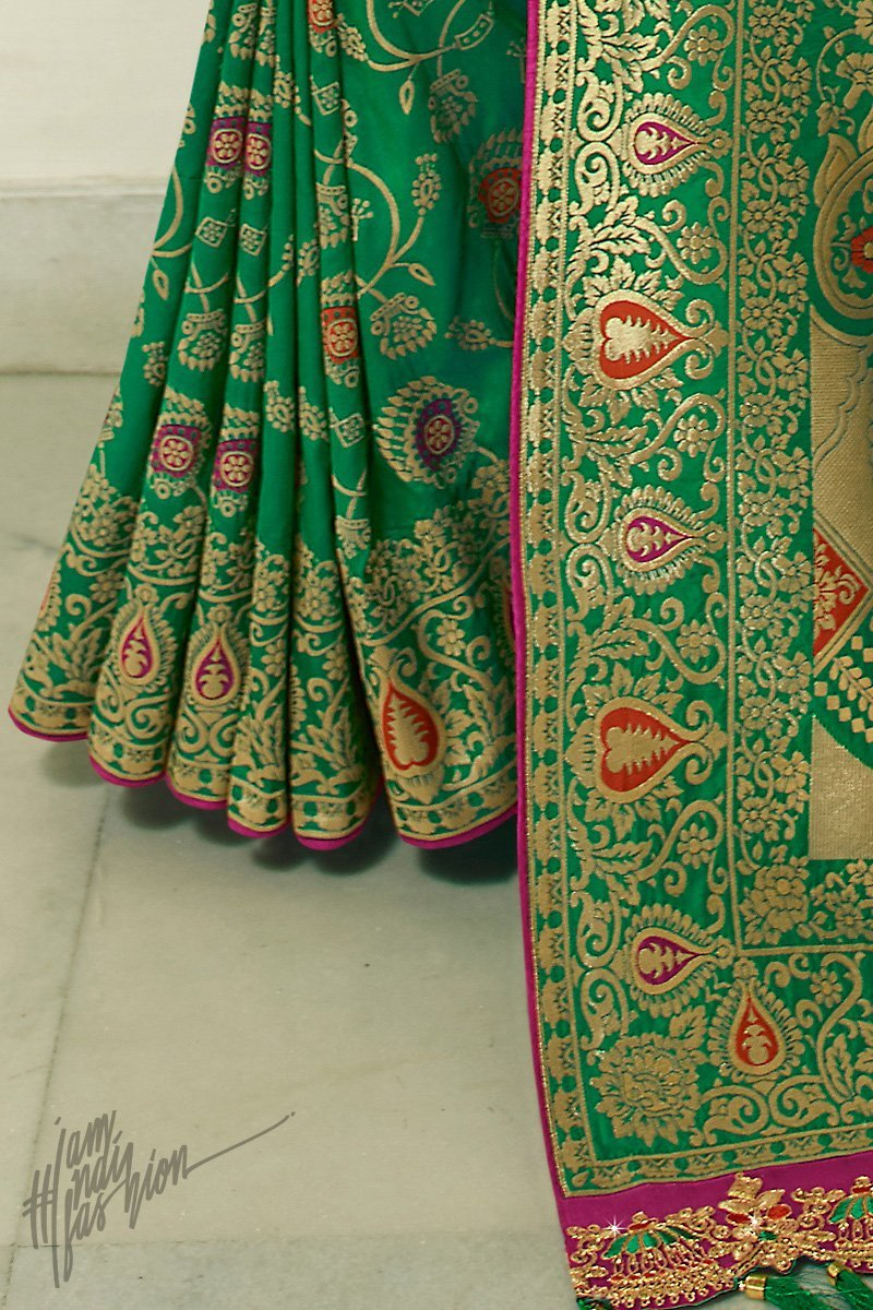 Green and Magenta Banarasi Silk Saree