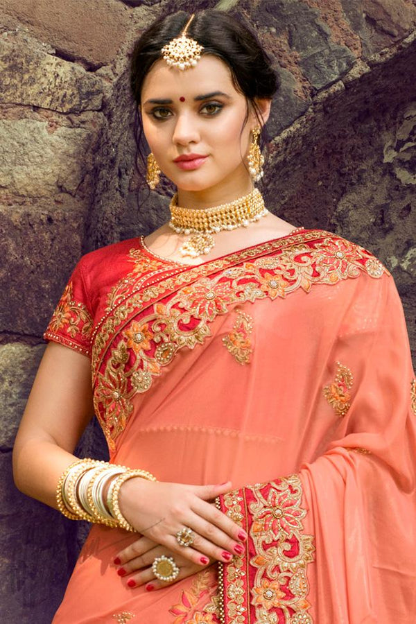 Indi Fashion Peach and Red Silk Embroidered Saree