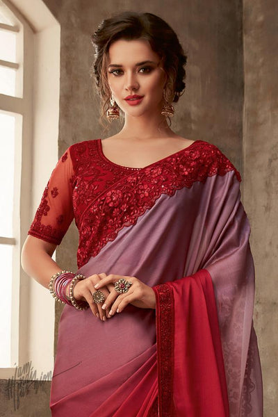 Red and Mauve Ombre Silk Party Wear Saree
