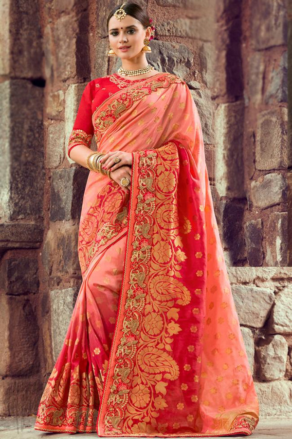 Indi Fashion Peach and Red Dual Tone Silk Embroidered Saree