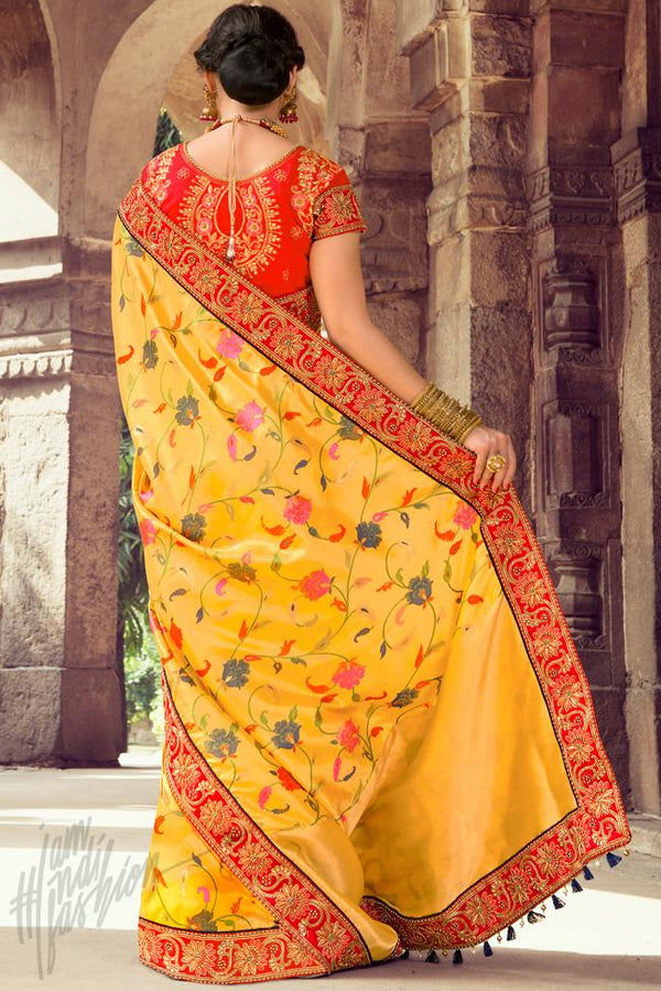 Indi Fashion Yellow and Red Silk Embroidered Saree