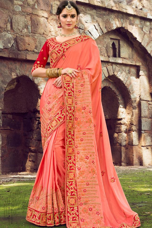 Indi Fashion Pink and Red Silk Embroidered Saree