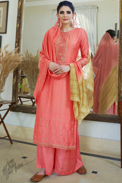 Pink Cotton Silk Palazzo Suit
