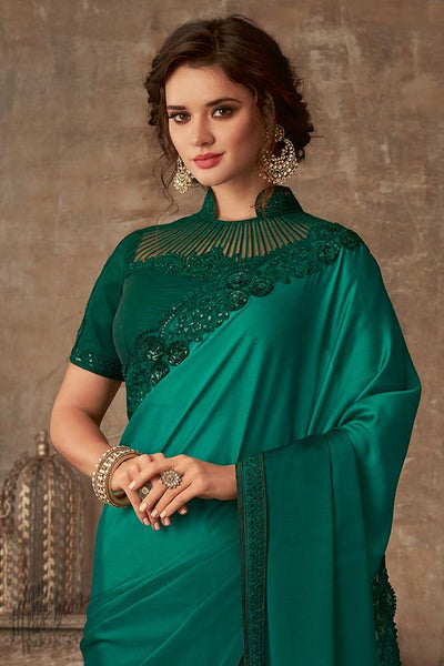 Emerald Green Ombre Silk Party Wear Saree