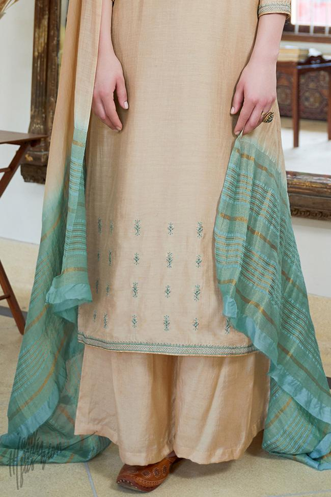 Light Nude Cotton Silk Palazzo Suit