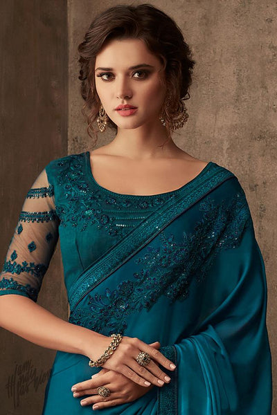 Blue Silk Party Wear Saree