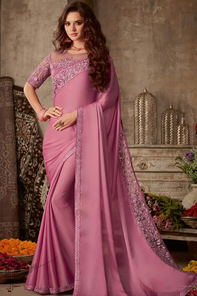 Mauve Silk Party Wear Saree