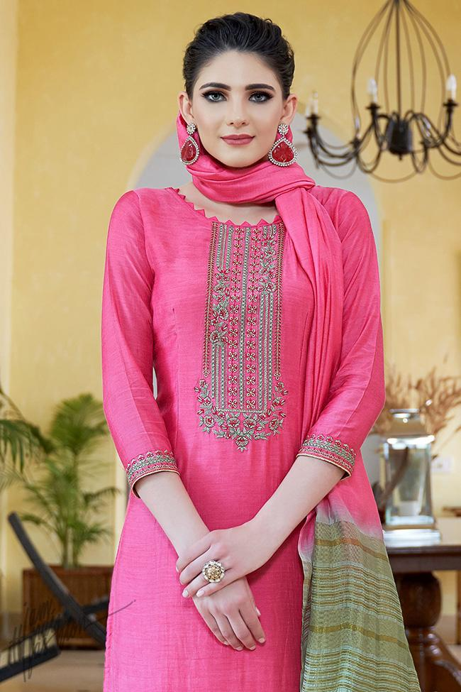 Hot Pink Cotton Silk Palazzo Suit