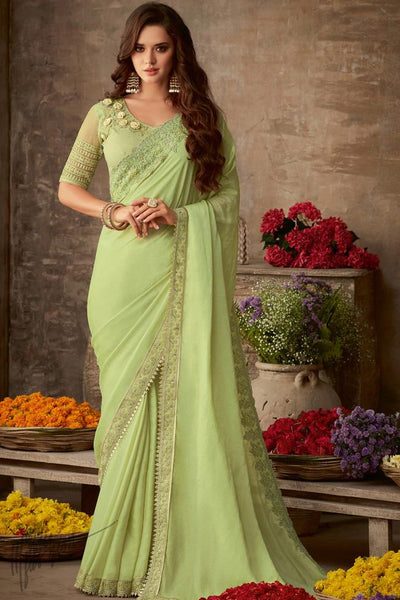 Light Pista Silk Party Wear Saree