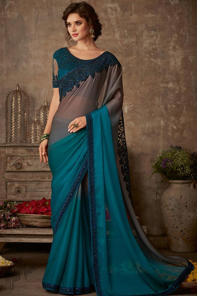 Bronze and Peacock Blue Ombre Silk Chiffon Party Wear Saree