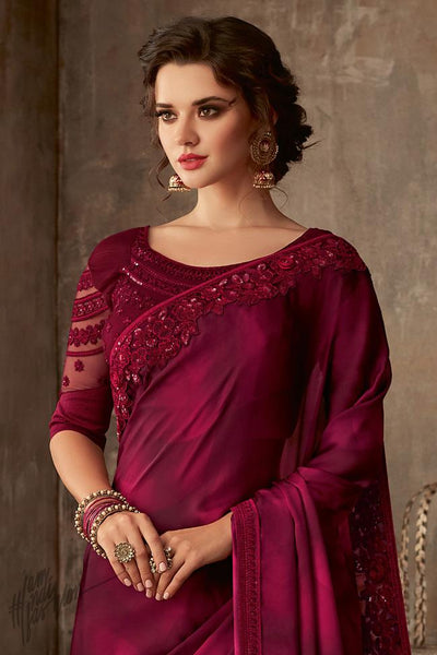 Jam Purple Silk Party Wear Saree