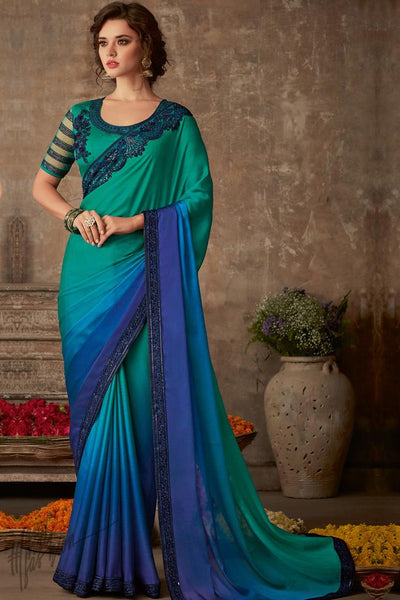 Teal and Cobalt Blue Ombre Silk Chiffon Party Wear Saree