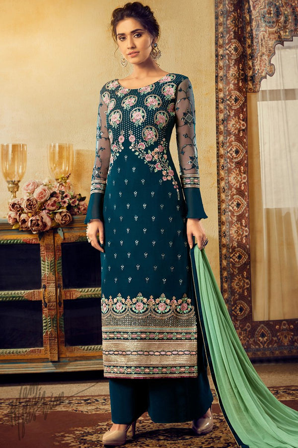 Peacock Blue Georgette Palazzo Suit