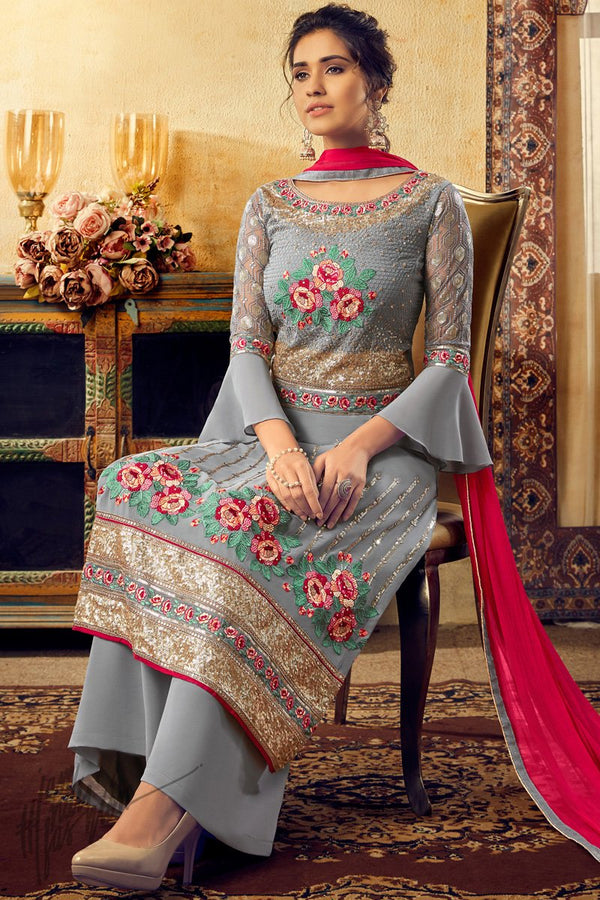 Steel Gray Georgette Palazzo Suit