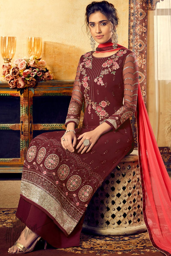 Maroon Georgette Palazzo Suit