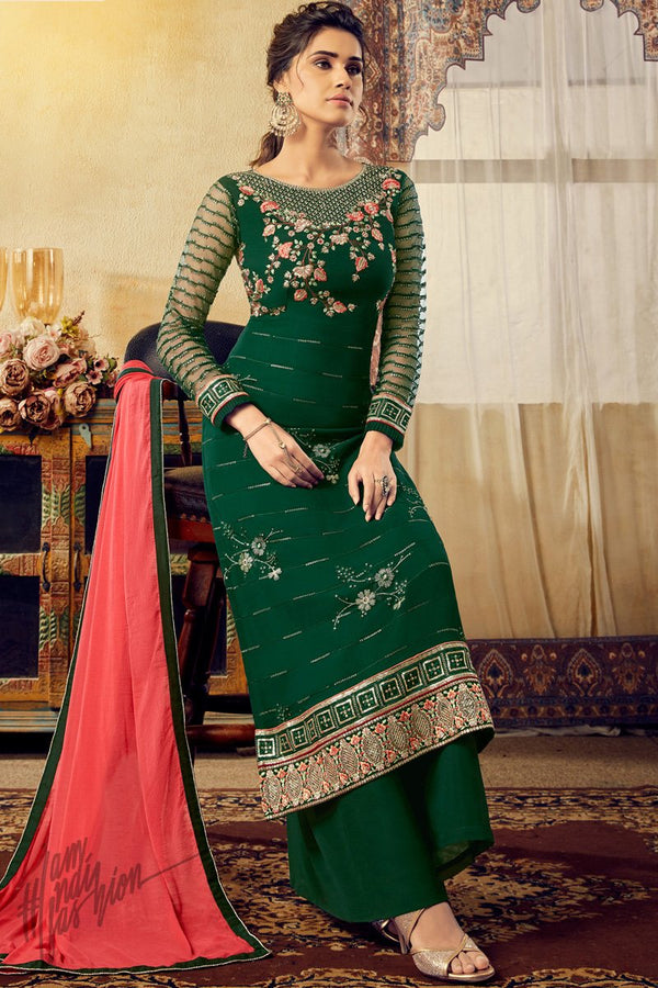 Bottle Green Georgette Palazzo Suit