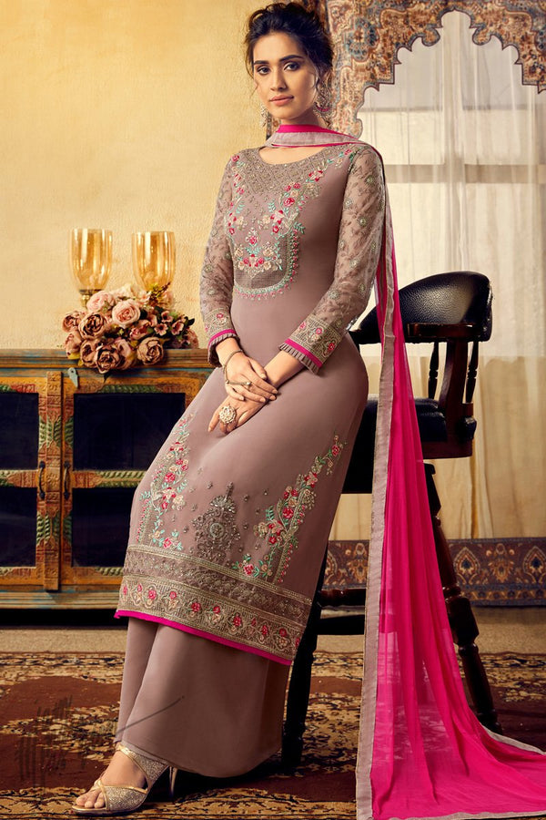 Coco Brown Georgette Palazzo Suit