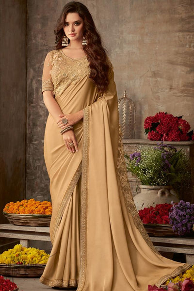 Coffee Silk Party Wear Saree