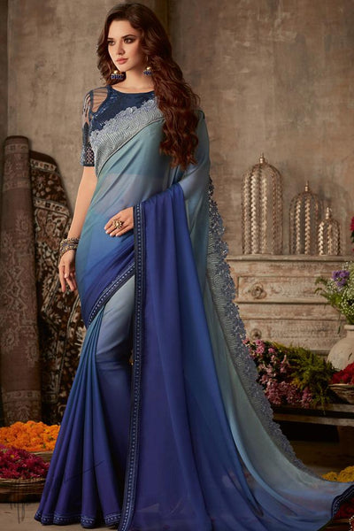 Gray and Blue Ombre Silk Chiffon Party Wear Saree