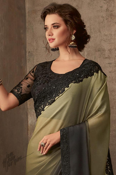 Military Green and Black Silk Chiffon Party Wear Saree