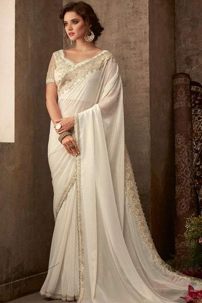 Daisy White Silk Party Wear Saree