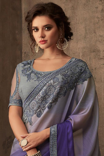 Gray and Violet Silk Chiffon Party Wear Saree