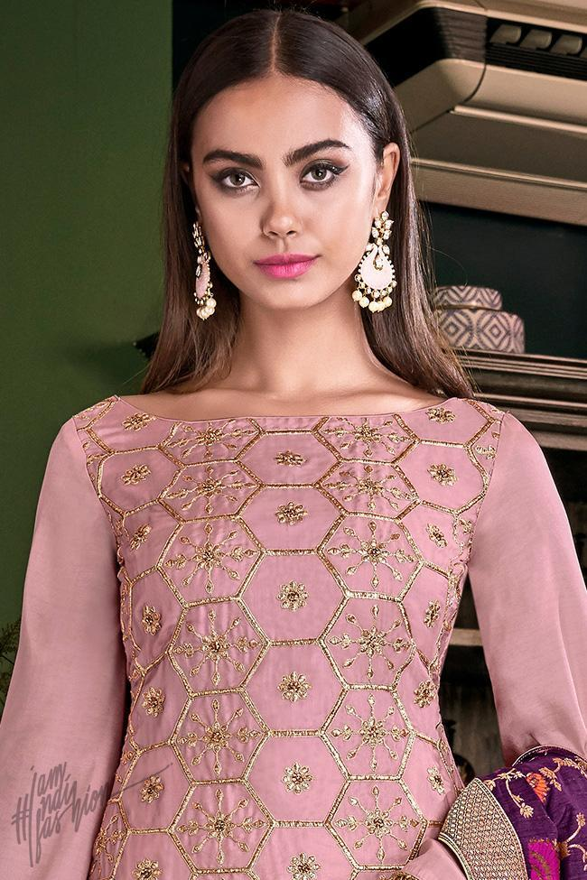 Onion Pink and Purple Tussar Satin Palazzo Suit