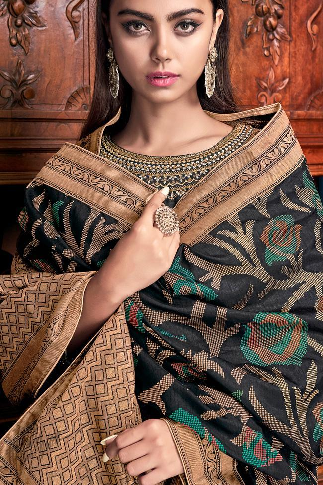 Black Bangalori Silk Sharara Suit