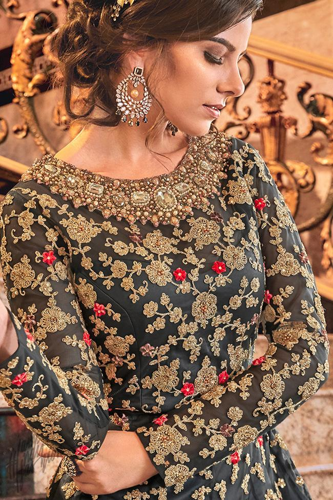 Dark Gray Butterly Net Jacket Style Anarkali Suit