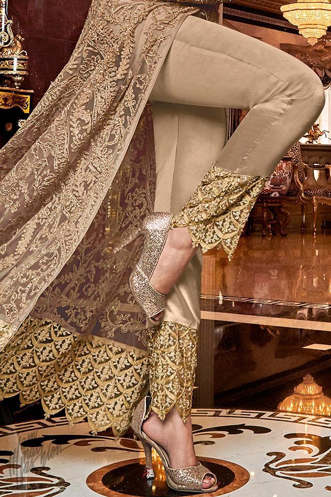 Golden Beige Premium Net Lehenga Style Suit with Pants
