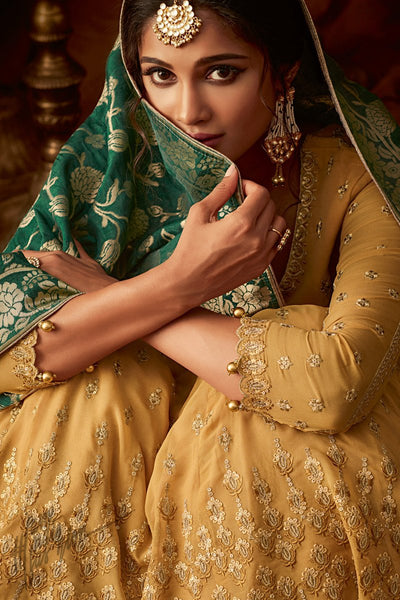 Mustard and Green Georgette Anarkali Lehenga Style Suit