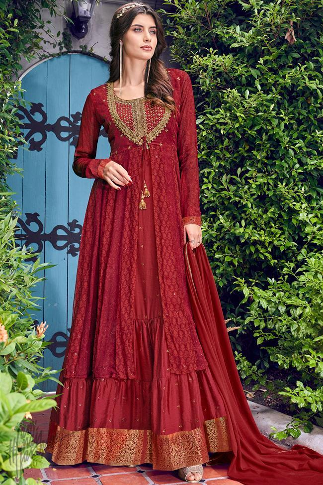 Cherry Red Chiffon Jacket Style Anarkali Gown