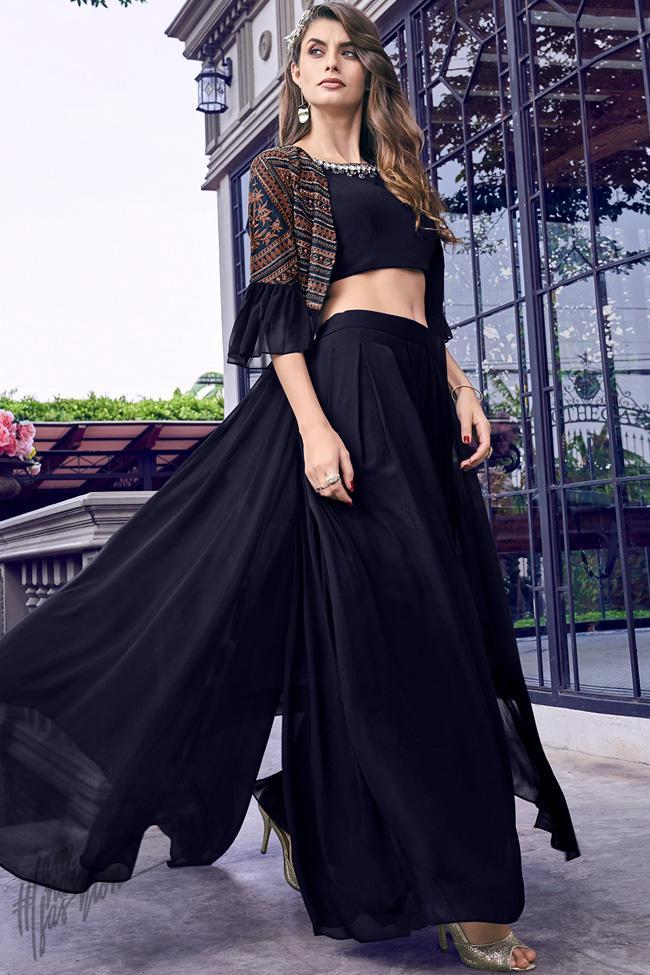 Black Dress with Jacket Crop Top and Pants