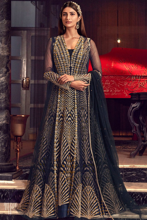 Midnight Blue and Gold Butterfly Net Gown Style Anarkali Suit with Jacket