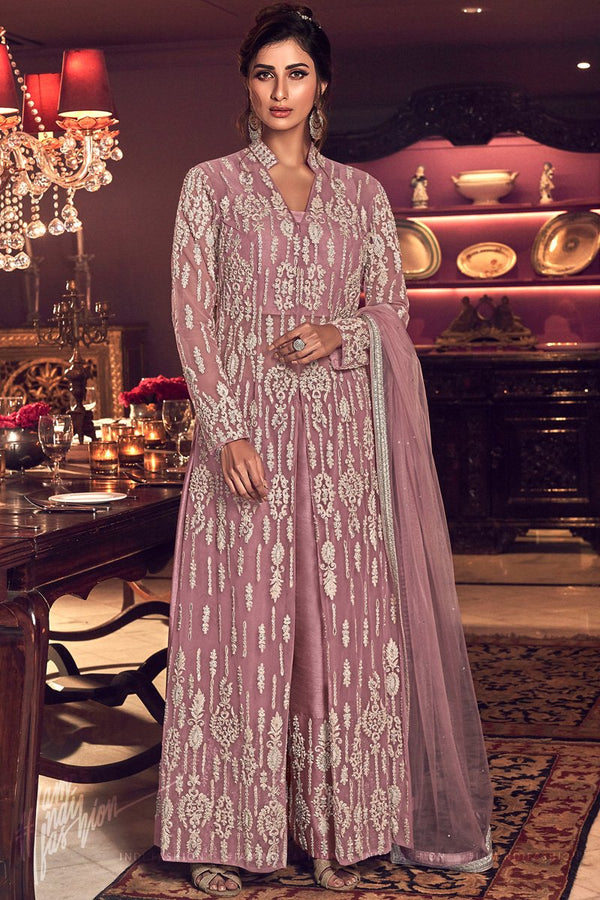 Onion Pink Butterfly Net Jeacket Style Dress with Palazzo Pants