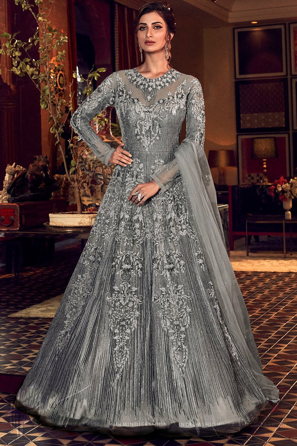 Sparkling Silver Butterfly Net Gown Style Anarkali Suit
