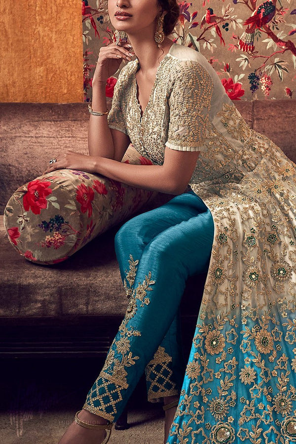 Beige and Cerulean Blue Premium Net Jacket Style Dress with Lehenga and Pants