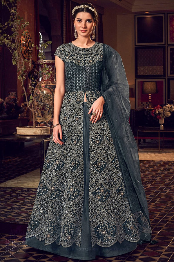 Dark Gray Butterfly Net Jacket Style Dress with Lehenga and Pants