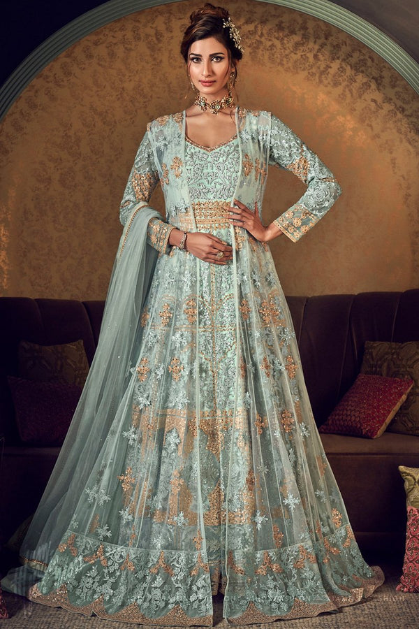 Pastel Mint Green Butterfly Net Gown Style Anarkali Suit with Jacket