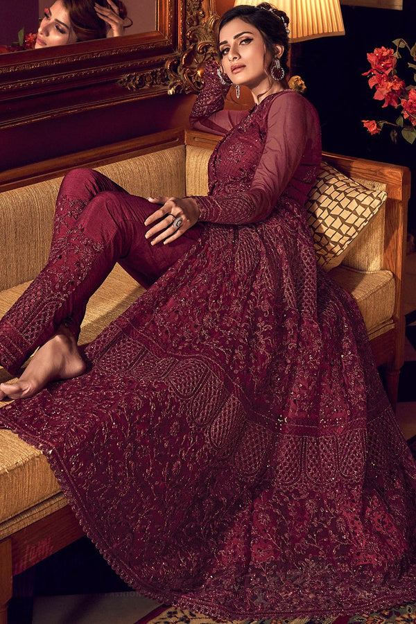 Burgundy Butterfly Net Jacket Style Dress with Lehenga and Pants