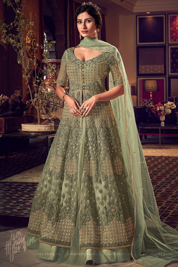 Sage Green Butterfly Net Jacket Style Dress with Lehenga and Pants
