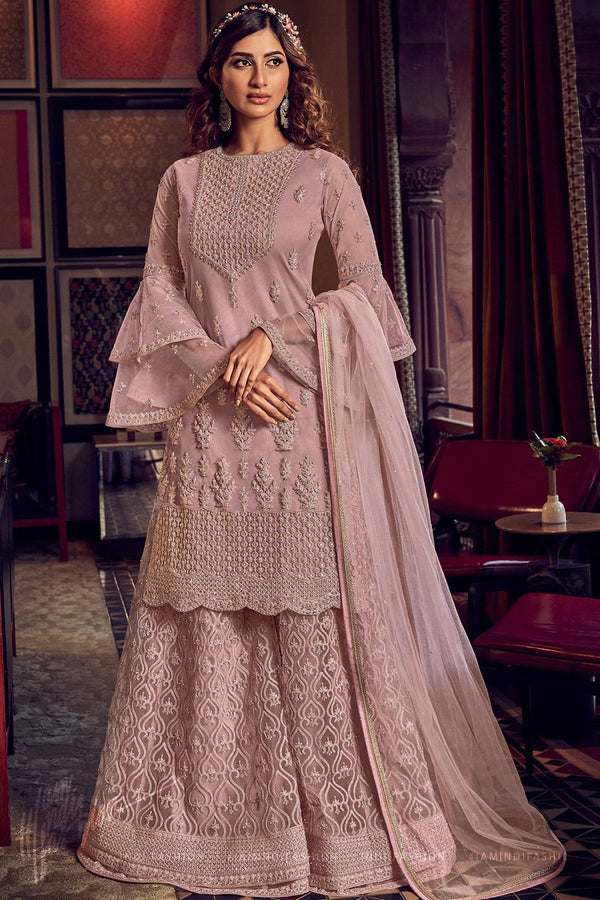 Lavender Butterfly Net Wedding Sharara Suit Set
