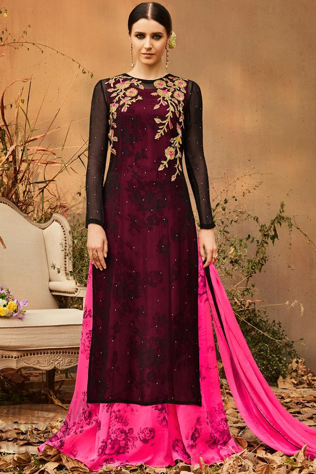 Black and Pink Georgette Double Layered Party Wear Suit - indi.fashion 2d30af050