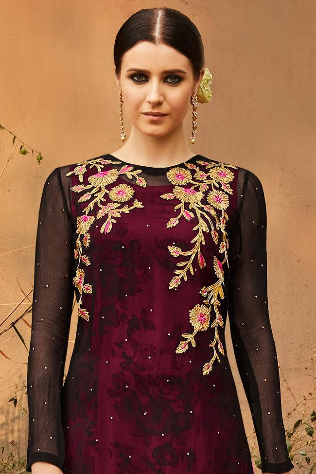 Indi Fashion Black and Pink Georgette Double Layered Party Wear Suit