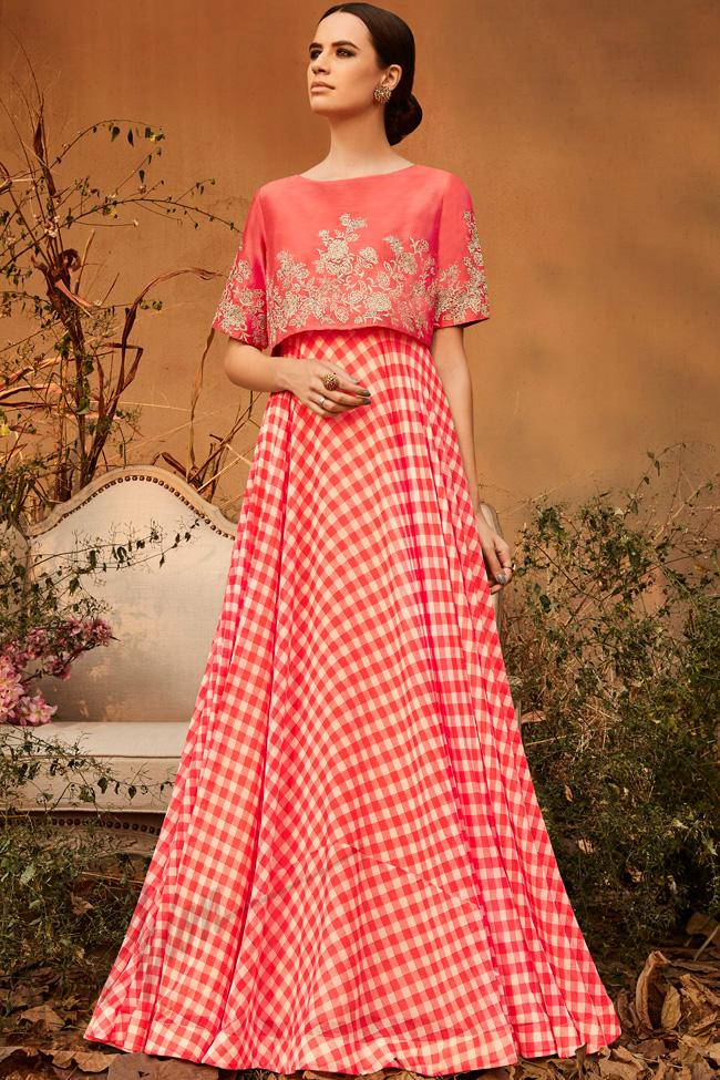 b9329386dd56d Peach and White Silk and Georgette Crop Top with Skirt - indi.fashion