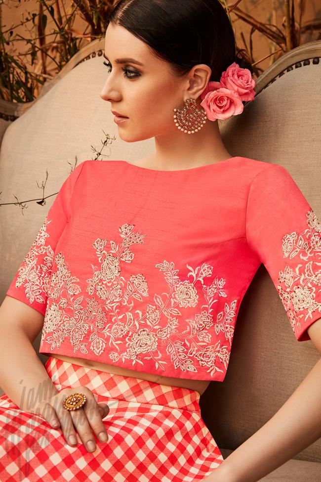 Indi Fashion Peach and White Silk and Georgette Crop Top with Skirt