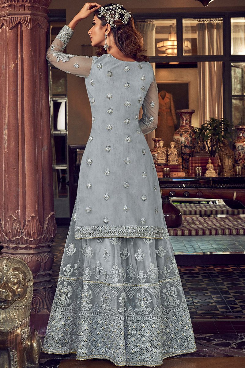 Ice Gray Butterfly Net Wedding Sharara Suit Set