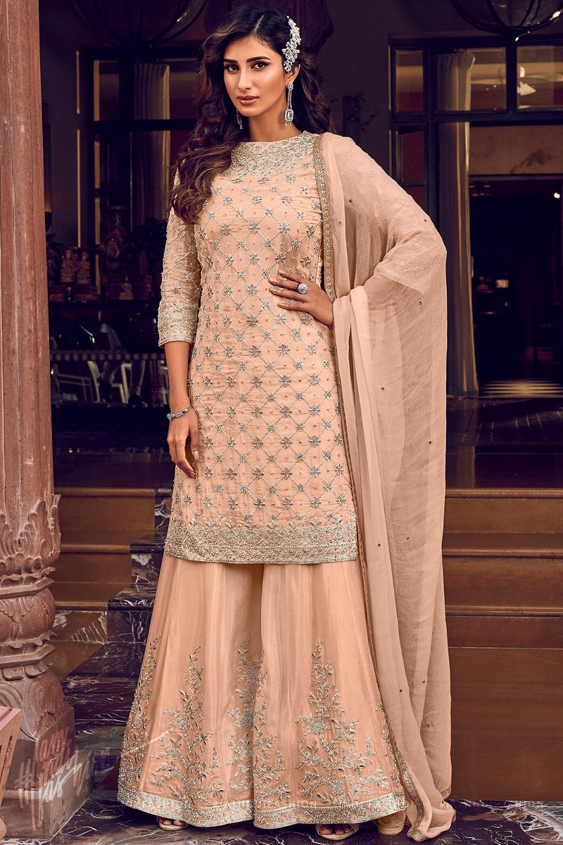 Light Peach Georgette Wedding Sharara Suit Set