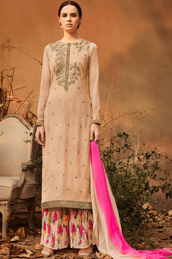 Indi Fashion Beige Georgette Calf Length Party Wear Suit
