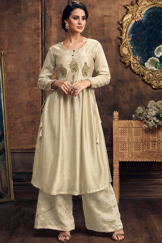 Off White Muga Silk Kurti with Palazzo Pants